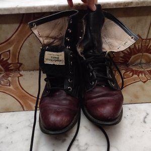 Vintage Justin Leather Burgundy / Black Boots